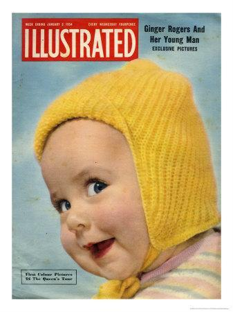 1950's Baby in Yellow Knitted Cap on Illustrated Cover