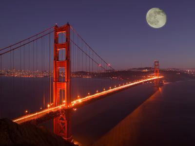 Moonrise above the Golden Gate Bridge, Marin, California
