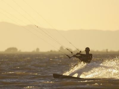 Kite Boarding in the Sacramento River, Sherman Island, Rio Vista, California