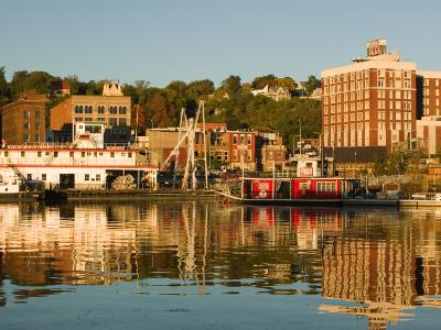 Riverboats, Mississippi River, and Historic Julien Hotel, Dubuque, Iowa