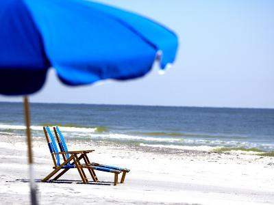 Beach Chairs and Umbrella, Ship Island, Gulf Islands National Seashore, Mississippi