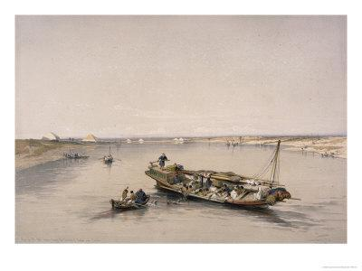 Looking Towards the Pyramids of Dashour and Saccara with a Slave, Nile River