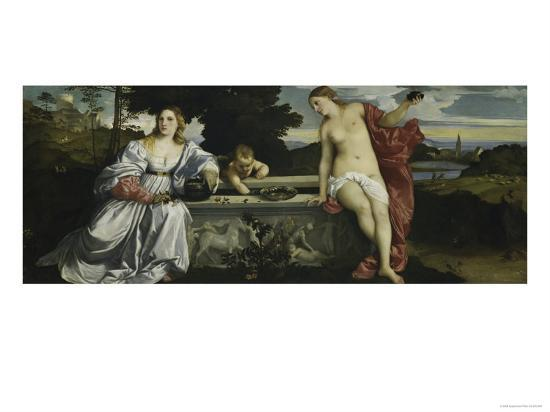 Sacred and Profane Love Giclee Print by Titian (Tiziano ...