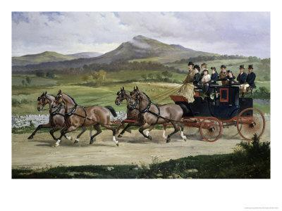 Coach and Four Horses on the Open Road