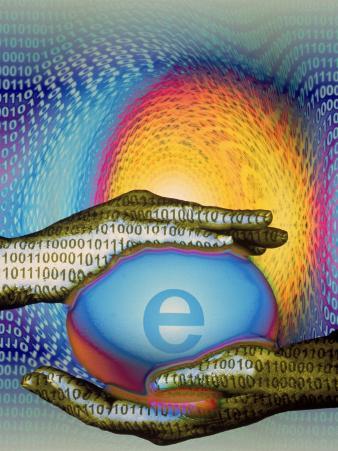 Hands Holding Dotcom Egg with Binary Code