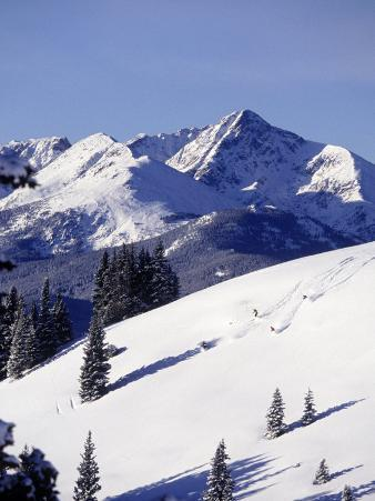 Distant View of Downhill Skiers, Vail, CO
