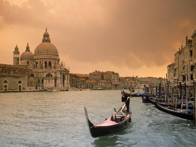 Sunset Over Grand Canal and Gondolier, Venice, Italy