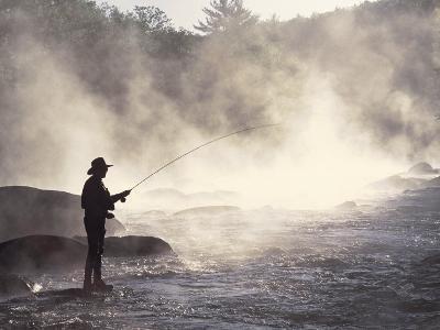 Man Fly-Fishing in Contoocook River, Henniker, NH