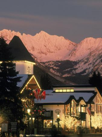 Sunset on Vail Village Clock Tower and Stores, CO