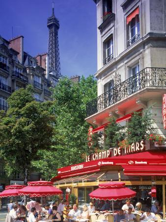 Cafe and Eiffel Tower, Paris, France