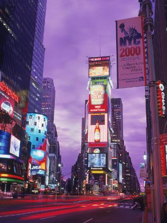 Millennium Sign and Times Sq at Night, NYC
