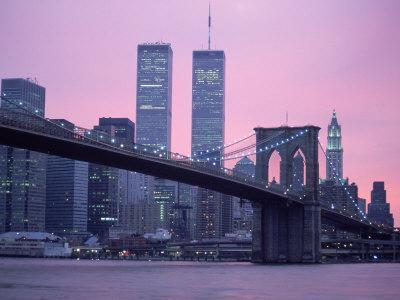 Brooklyn Bridge, Twin Towers, NYC, NY