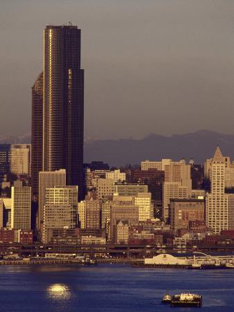 Sunset, Seattle Skyline, Tugboats in Elliott Bay