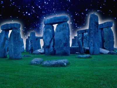 Glowing Stonehenge at Night