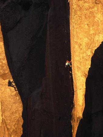 Man Rock Climbing, California
