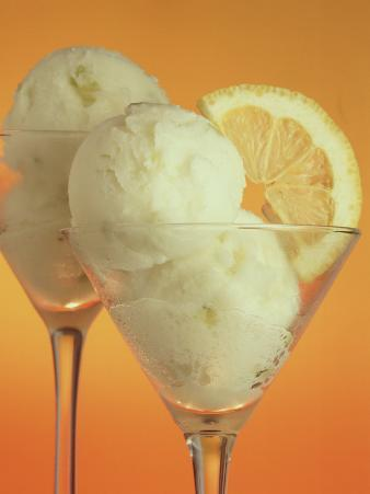 Glasses of Lemon Sherbert with Slice of Lemon