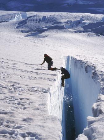 Climbers, Crevasse, Emmons Glacier, Mt. Rainier, WA