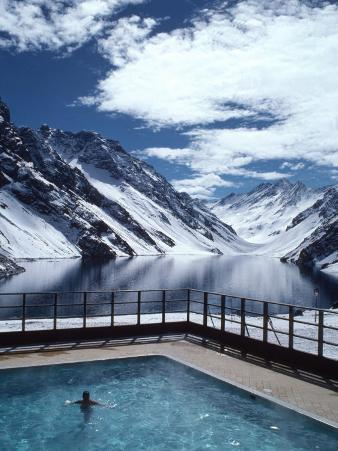 Pool and Lake Inca, Portillo Ski Resort, Chile
