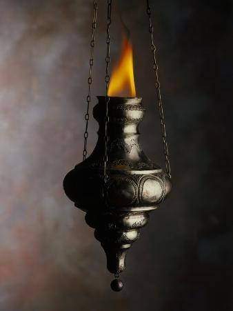Flame in Jewish Oil Lamp