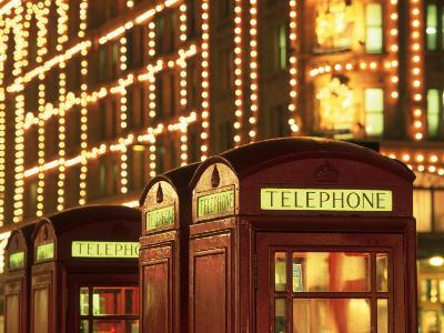 Telephone Booths in Front Store, London, England