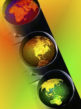 Globes in Traffic Light