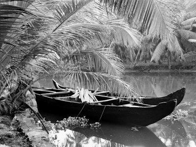 Kovalum, Kerala, India, Boat in Village