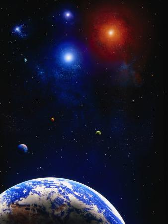 Illustration of Earth and a Planet