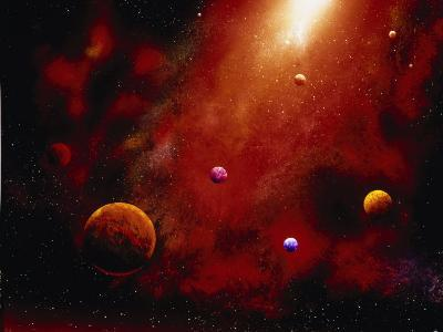 Illustration of Planets and Red Glowing Star