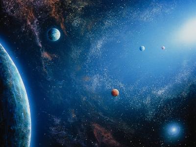 Space Illustration Titled Orbitas Lumenque