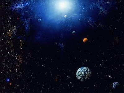 Illustration of Space and Planets
