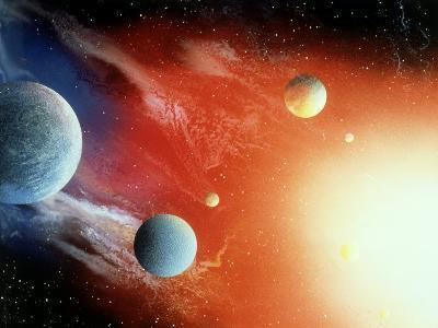 Space Illustration of Illuminated Planets