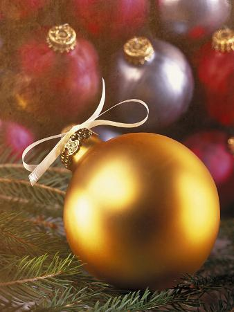 Gold Christmas Ornament with White Ribbon