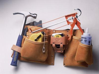 Tool Belt with Hammer, Tape Measure, Caulk Gun