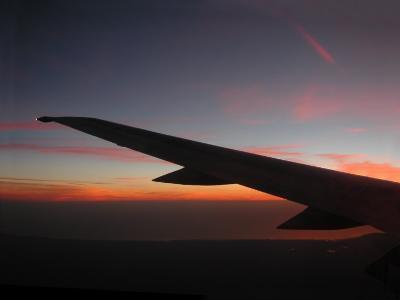 Winging Over Sunset from 30,000 Feet