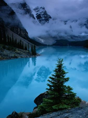 View of Moraine Lake with Low-Lying Clouds at One End