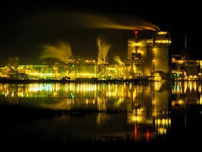 A Time Exposure, Taken at Night, of the Mill and the River