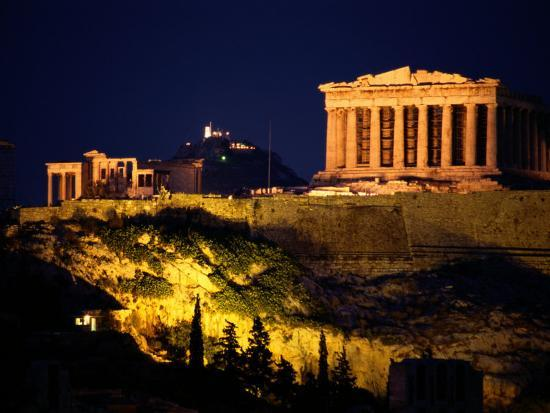 Classic Night View of the Parthenon and Surrounding ...