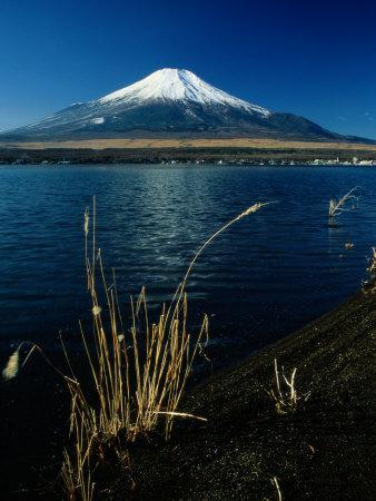 A Scenic View of Mount Fuji Taken from a Neighboring Island