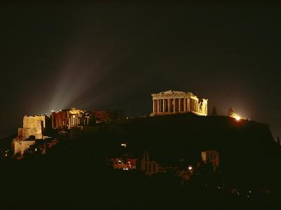 Floodlights Illuminate the Acropolis