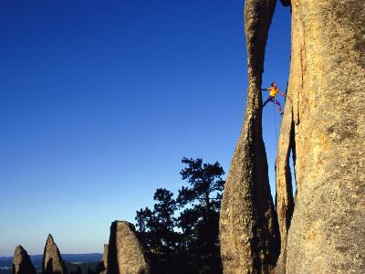 A Climber Leads a Route at the Needles in South Dakota