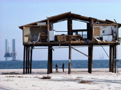 View of a Beach House Damaged by a Hurricane
