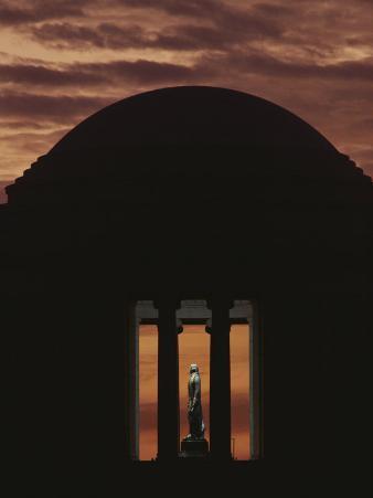 A Fiery Sunset Surrounds the Jefferson Memorial