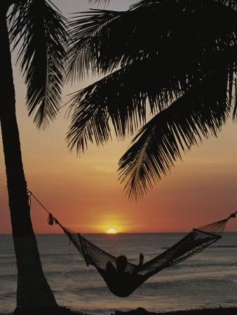 Sunset on Beach with Silhouetted Hammock and Palms, Costa Rica