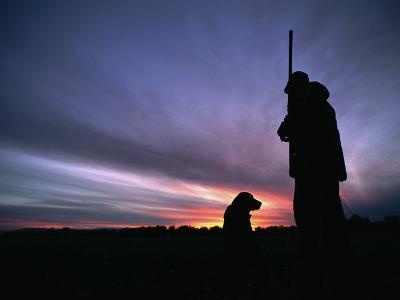 A Silhouetted Hunter and His Dog at Twilight