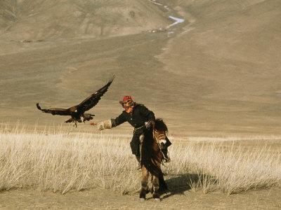A Kazakh Falconer Hunts with His Golden Eagle