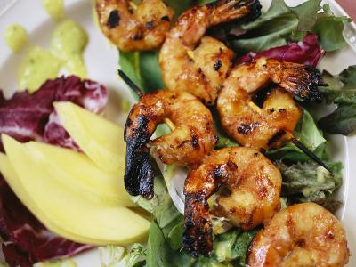 A Shrimp Dinner is Attractively Served at Emerald Lake Lodge