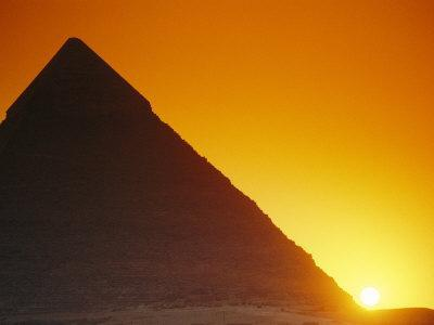 Sun Sets Behind Khufus Great Pyramid at Giza, Khufu is Also Known as Cheops