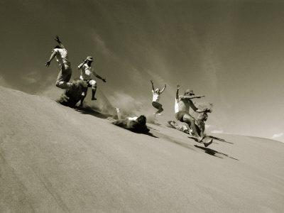 A Group of Hikers Have a Freefall Down a Sand Dune Near the Alsek River in Alas Ka