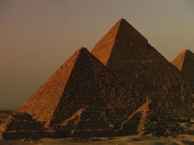 Giza Pyramids from Left- Kings Menkure, Khafre and Khufu