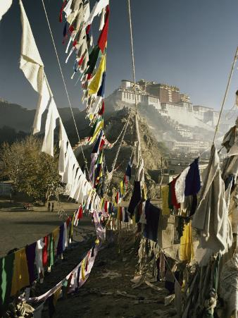 Prayer Flags Hang in the Breeze Below the Potala